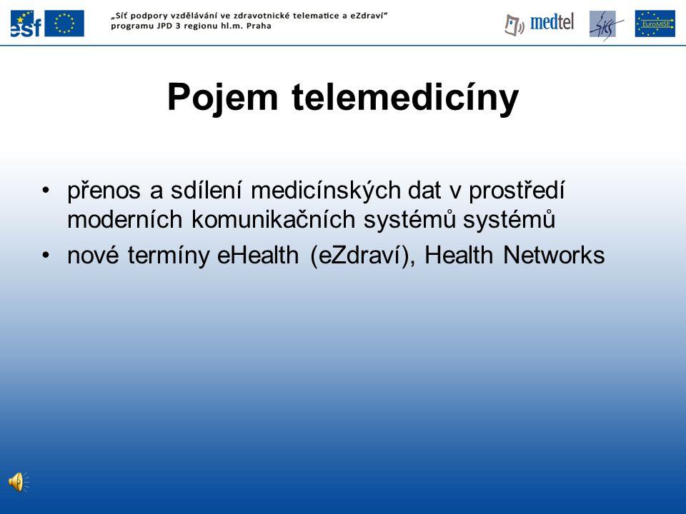Pojem telemedicíny •přenos a sdílení medicínských dat v prostředí moderních komunikačních systémů systémů •nové termíny eHealth (eZdraví), Health Netw