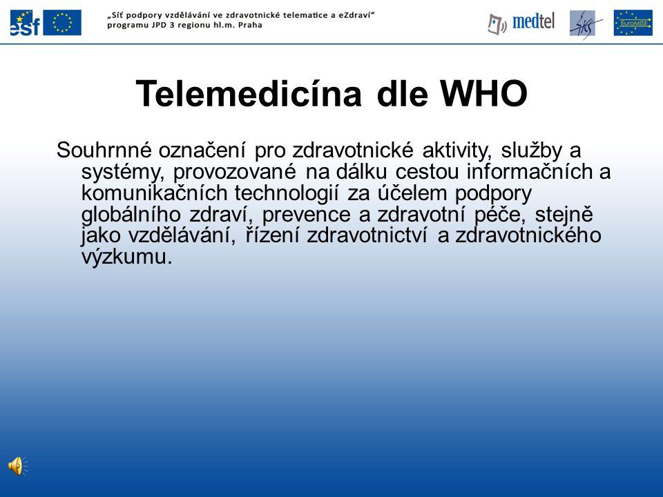 Druhy telemedicínských služeb Zjednodušená kategorizace •Hlasové – audio (telefon, hlasové konference) •Obrazové – video (interaktivní televize, videokonference) •Datové (výměna dat, telemetrie, přístup k databázím)
