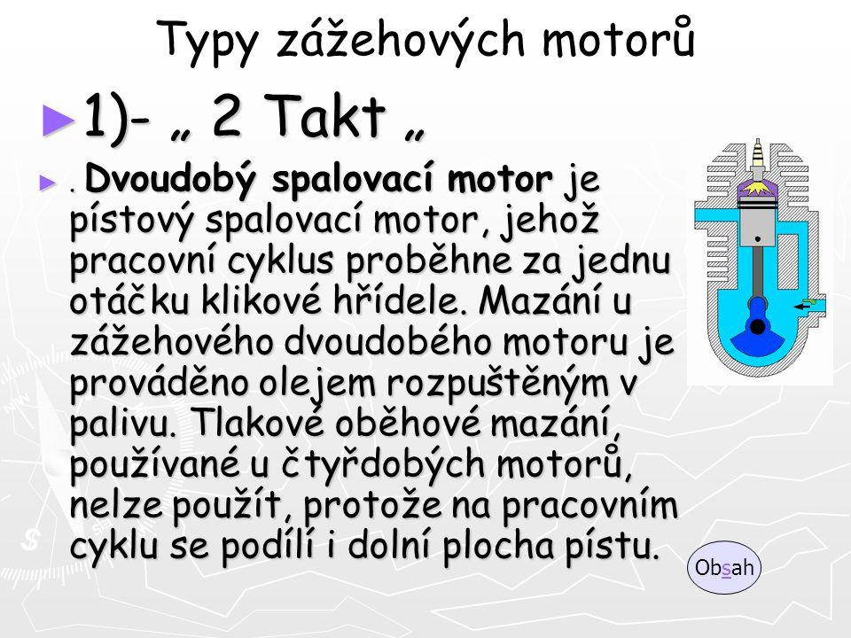 """Typy zážehových motorů ► 1)- """" 2 Takt """" ►. Dvoudobý spalovací motor je pístový spalovací motor, jehož pracovní cyklus proběhne za jednu otáčku klikové"""