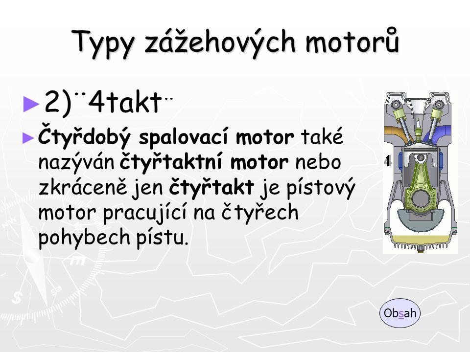 Typy zážehových motorů ► ► 2)¨4takt ¨ ► ► Čtyřdobý spalovací motor také nazýván čtyřtaktní motor nebo zkráceně jen čtyřtakt je pístový motor pracující