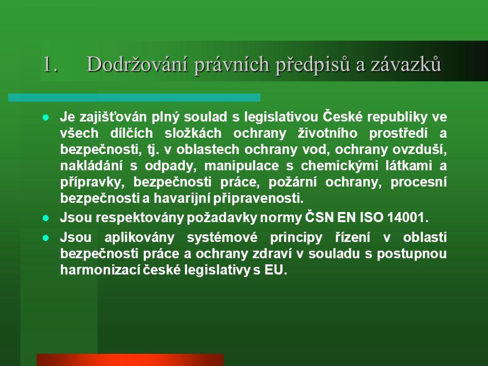 1.Dodržování právních předpisů a závazků  Je zajišťován plný soulad s legislativou České republiky ve všech dílčích složkách ochrany životního prostř