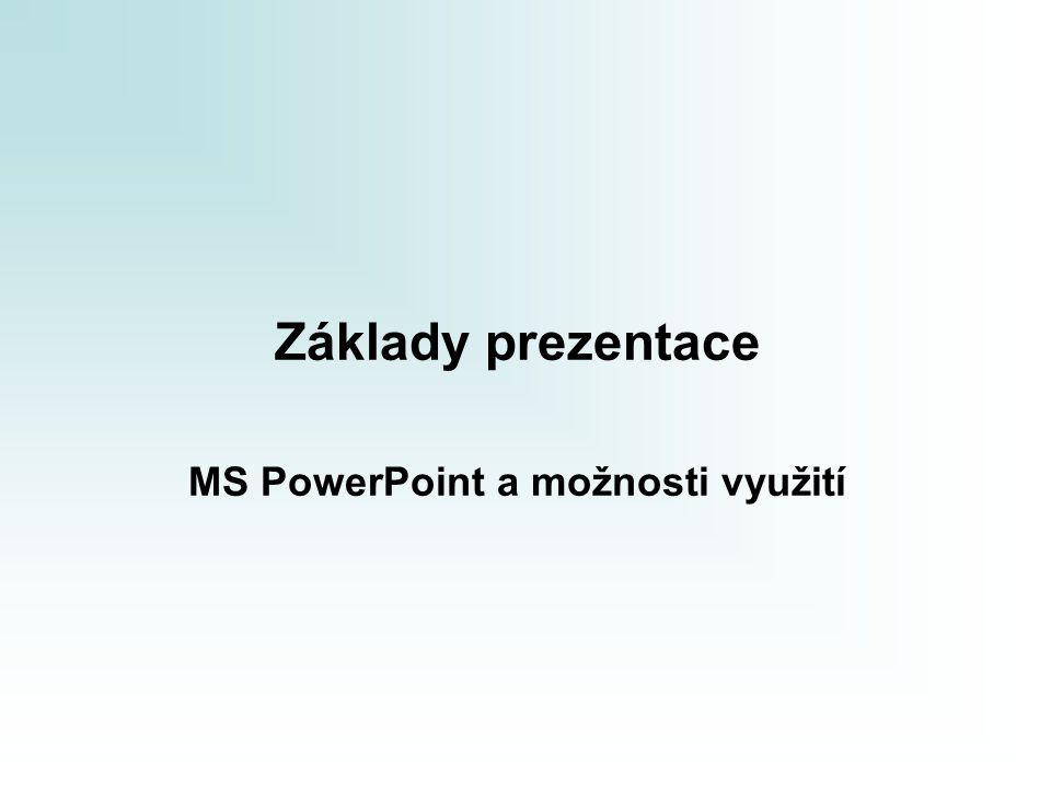 Základy prezentace Prezentace připravujeme k různým účelům:  prezentace výrobku či projektového produktu  prezentace projektu, projektového záměru, projektových výsledků  prezentace výsledků šetření  pomůcka při školení MS PowerPoint (a jiné podobné aplikace např.