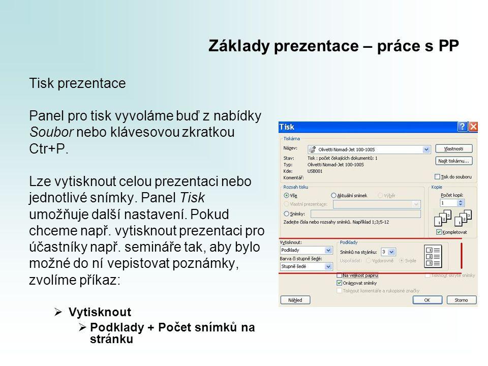 Základy prezentace – práce s PP Tisk prezentace Panel pro tisk vyvoláme buď z nabídky Soubor nebo klávesovou zkratkou Ctr+P. Lze vytisknout celou prez