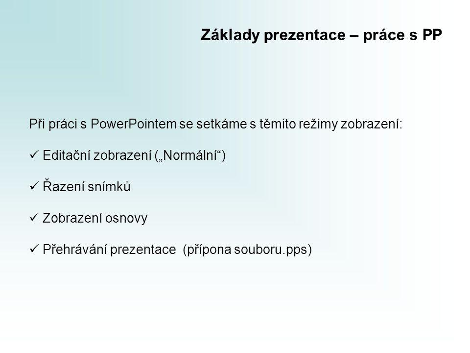 """Základy prezentace – práce s PP Při práci s PowerPointem se setkáme s těmito režimy zobrazení:  Editační zobrazení (""""Normální"""")  Řazení snímků  Zob"""