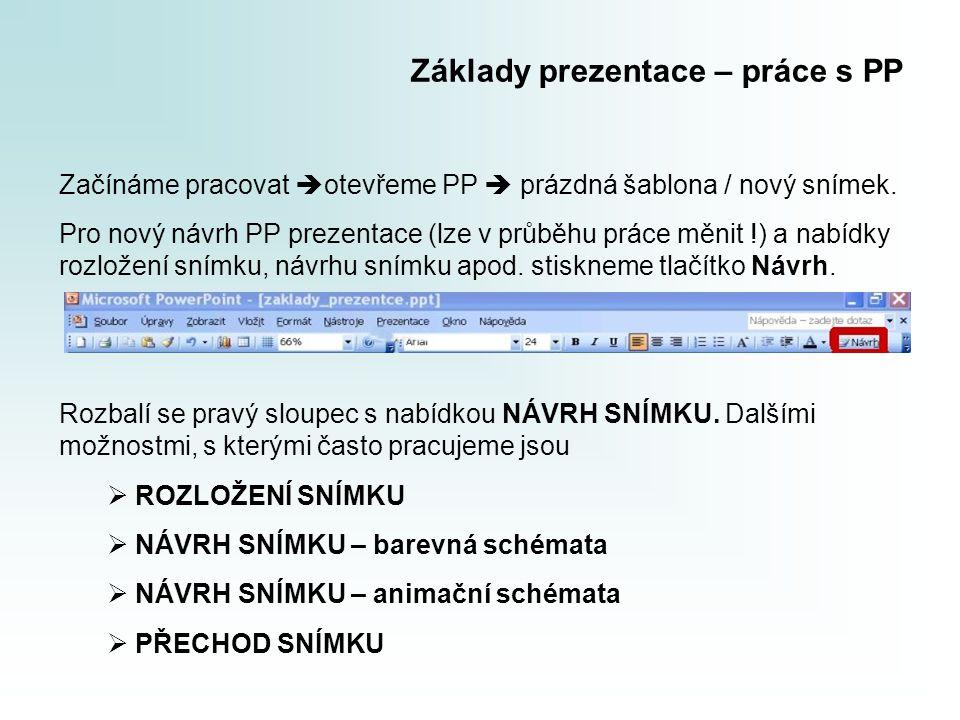 Základy prezentace – práce s PP Začínáme pracovat  otevřeme PP  prázdná šablona / nový snímek. Pro nový návrh PP prezentace (lze v průběhu práce měn