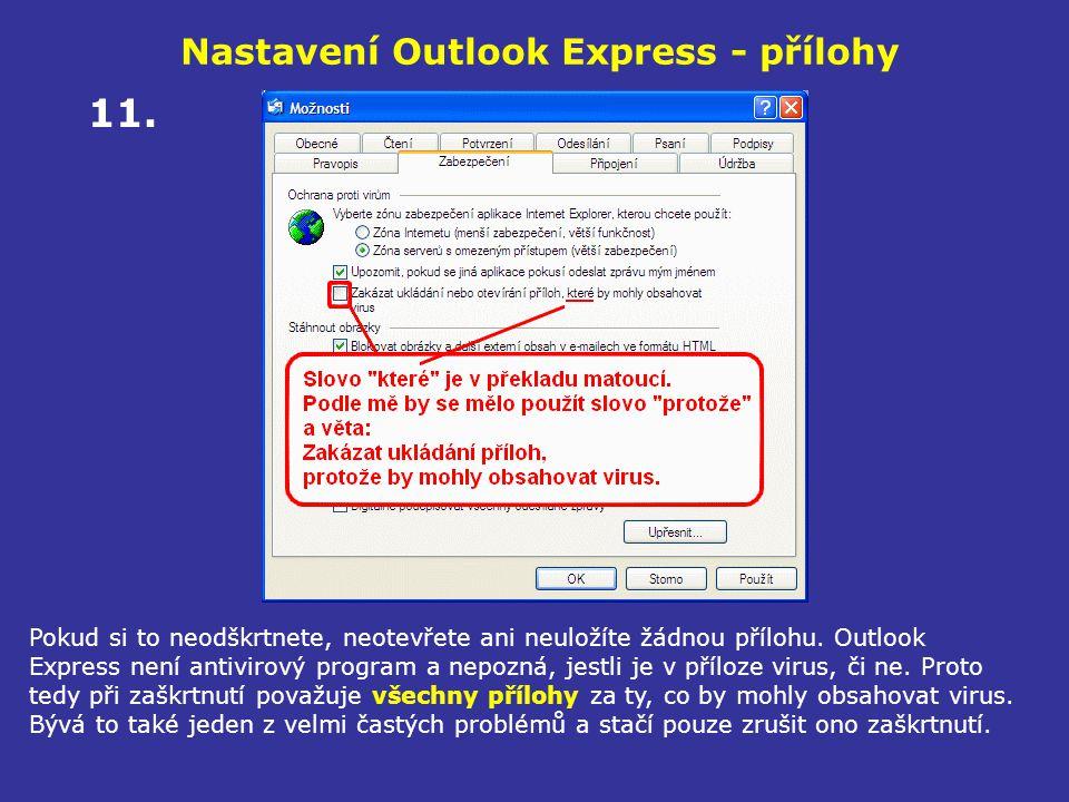Nastavení Outlook Express - přílohy Pokud si to neodškrtnete, neotevřete ani neuložíte žádnou přílohu. Outlook Express není antivirový program a nepoz