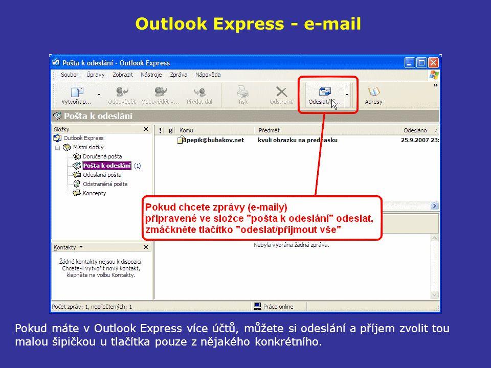 Outlook Express - e-mail Pokud máte v Outlook Express více účtů, můžete si odeslání a příjem zvolit tou malou šipičkou u tlačítka pouze z nějakého kon