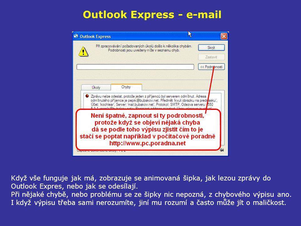 Outlook Express - e-mail Když vše funguje jak má, zobrazuje se animovaná šipka, jak lezou zprávy do Outlook Expres, nebo jak se odesílají. Při nějaké