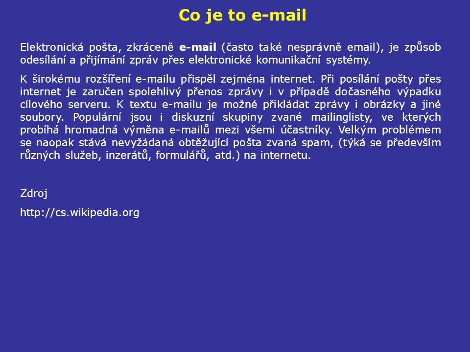 Co je to e-mail Elektronická pošta, zkráceně e-mail (často také nesprávně email), je způsob odesílání a přijímání zpráv přes elektronické komunikační