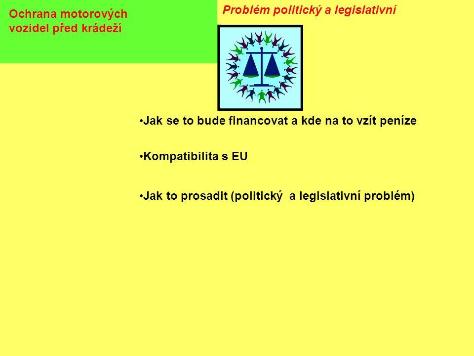 Ochrana motorových vozidel před krádeží Problém politický a legislativní •Jak se to bude financovat a kde na to vzít peníze •Kompatibilita s EU •Jak to prosadit (politický a legislativní problém)