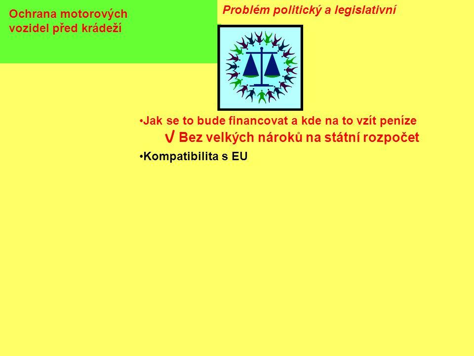 Ochrana motorových vozidel před krádeží Problém politický a legislativní •Jak se to bude financovat a kde na to vzít peníze Bez velkých nároků na státní rozpočet •Kompatibilita s EU