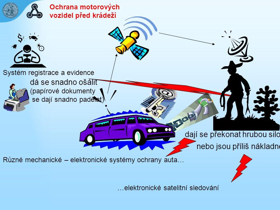 Různé mechanické – elektronické systémy ochrany auta… …elektronické satelitní sledování dají se překonat hrubou silou nebo jsou příliš nákladné Systém registrace a evidence dá se snadno ošálit (papírové dokumenty se dají snadno padělat) Ochrana motorových vozidel před krádeží