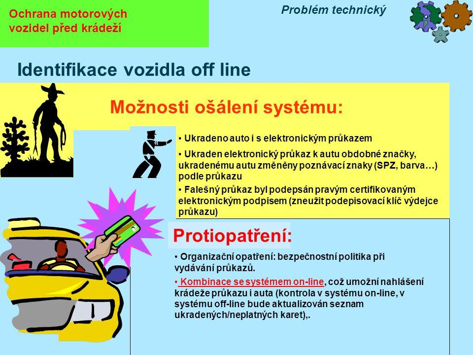 Ochrana motorových vozidel před krádeží Problém technický Identifikace vozidla off line Možnosti ošálení systému: • Falešný průkaz byl podepsán pravým