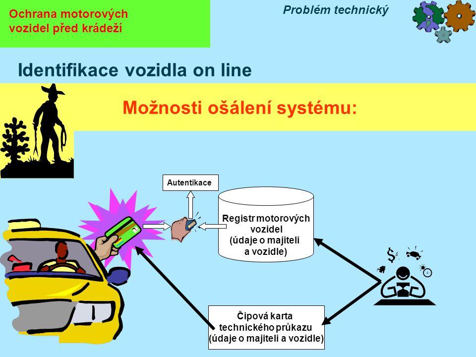 Ochrana motorových vozidel před krádeží Problém technický Identifikace vozidla on line Možnosti ošálení systému: Čipová karta technického průkazu (údaje o majiteli a vozidle) Registr motorových vozidel (údaje o majiteli a vozidle) Autentikace