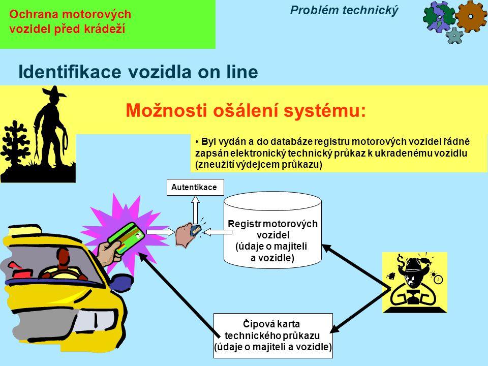 Ochrana motorových vozidel před krádeží Problém technický Identifikace vozidla on line Možnosti ošálení systému: Čipová karta technického průkazu (údaje o majiteli a vozidle) Registr motorových vozidel (údaje o majiteli a vozidle) Autentikace • Byl vydán a do databáze registru motorových vozidel řádně zapsán elektronický technický průkaz k ukradenému vozidlu (zneužití výdejcem průkazu)