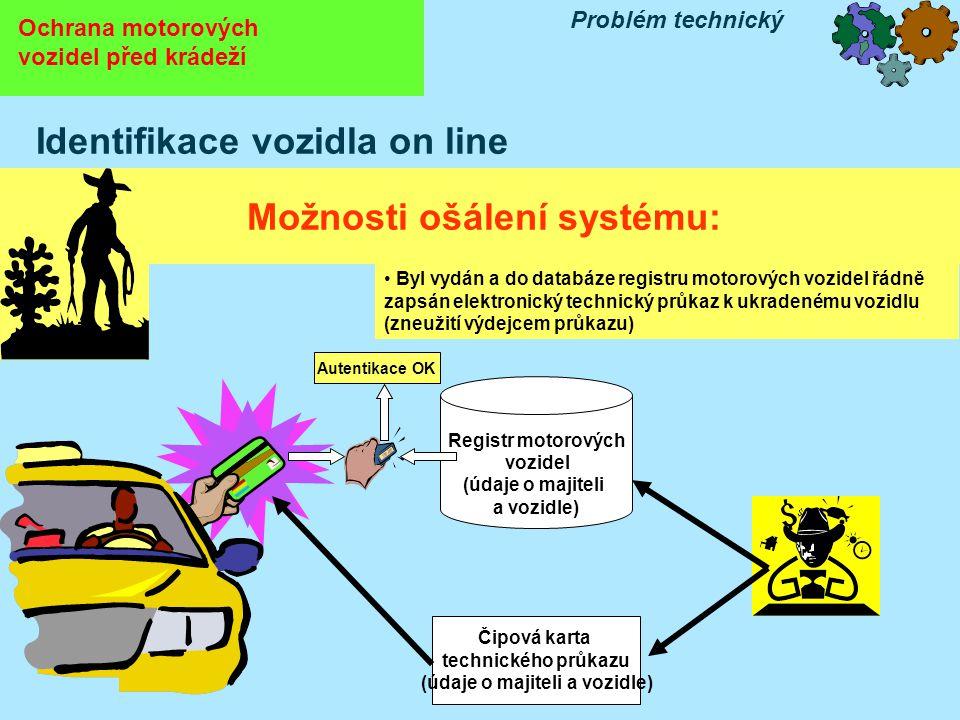 Ochrana motorových vozidel před krádeží Problém technický Identifikace vozidla on line Možnosti ošálení systému: Čipová karta technického průkazu (údaje o majiteli a vozidle) Registr motorových vozidel (údaje o majiteli a vozidle) Autentikace OK • Byl vydán a do databáze registru motorových vozidel řádně zapsán elektronický technický průkaz k ukradenému vozidlu (zneužití výdejcem průkazu)