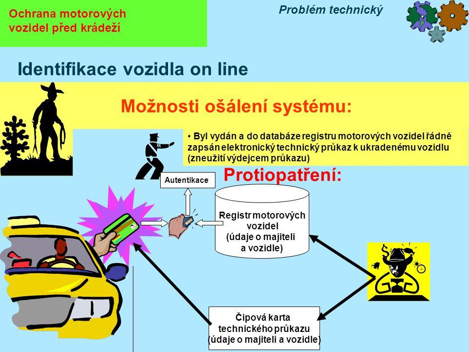 Protiopatření: Ochrana motorových vozidel před krádeží Problém technický Identifikace vozidla on line Možnosti ošálení systému: Čipová karta technické