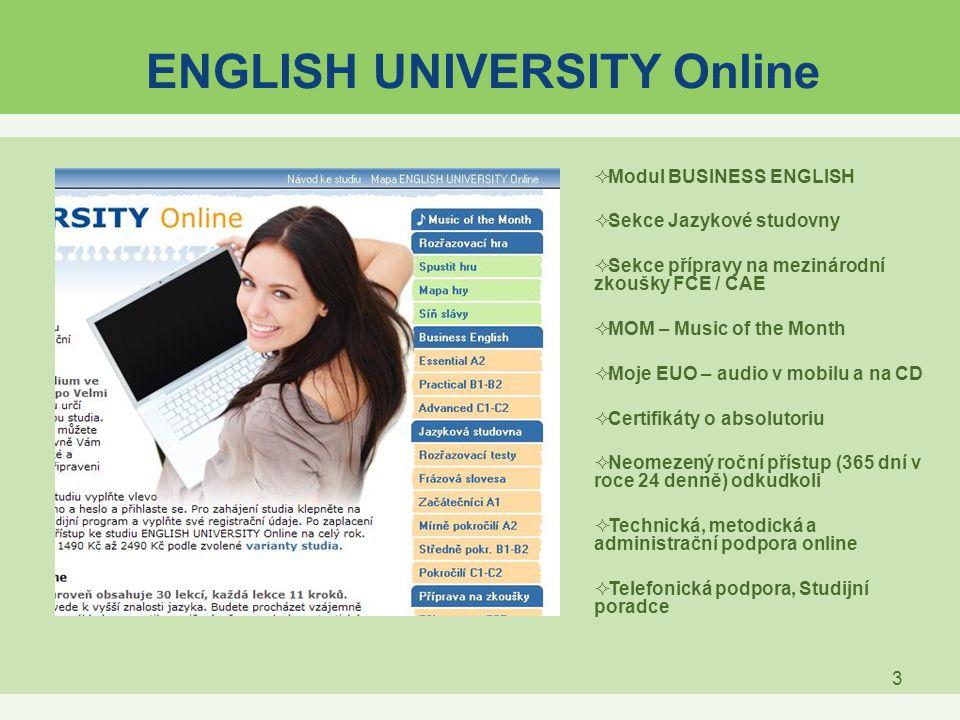 3 ENGLISH UNIVERSITY Online  Modul BUSINESS ENGLISH  Sekce Jazykové studovny  Sekce přípravy na mezinárodní zkoušky FCE / CAE  MOM – Music of the