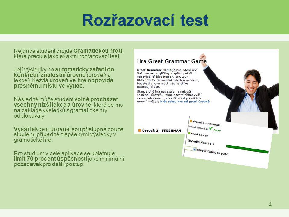 4 Rozřazovací test Nejdříve student projde Gramatickou hrou, která pracuje jako exaktní rozřazovací test. Její výsledky ho automaticky zařadí do konkr