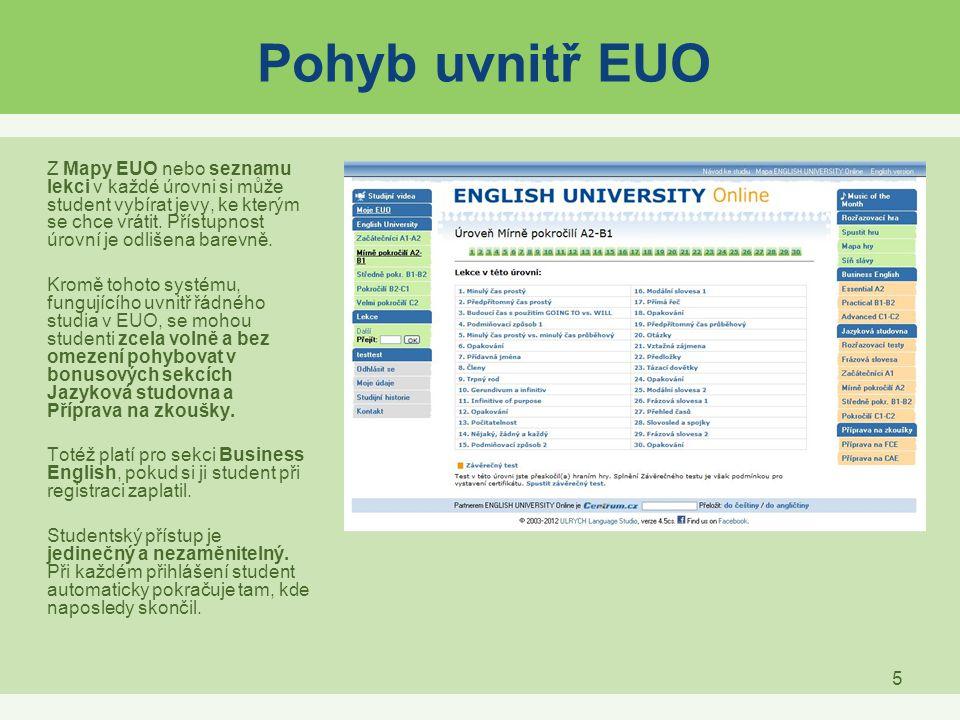5 Pohyb uvnitř EUO Z Mapy EUO nebo seznamu lekci v každé úrovni si může student vybírat jevy, ke kterým se chce vrátit. Přístupnost úrovní je odlišena