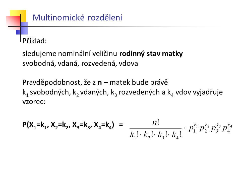 Multinomické rozdělení Příklad: sledujeme nominální veličinu rodinný stav matky svobodná, vdaná, rozvedená, vdova Pravděpodobnost, že z n – matek bude