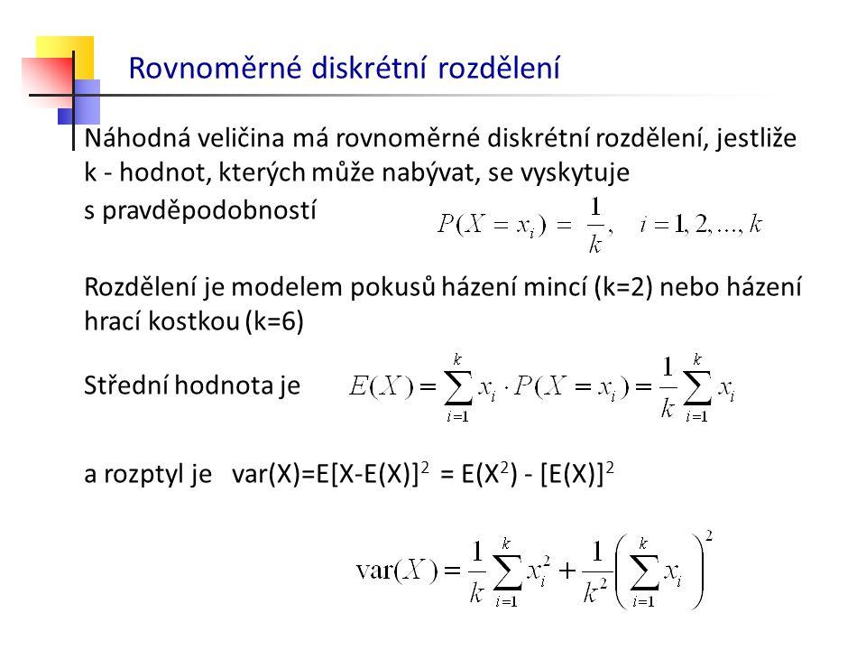 Rovnoměrné diskrétní rozdělení Náhodná veličina má rovnoměrné diskrétní rozdělení, jestliže k - hodnot, kterých může nabývat, se vyskytuje s pravděpod