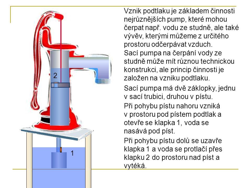 Vznik podtlaku je základem činnosti nejrůznějších pump, které mohou čerpat např. vodu ze studně, ale také vývěv, kterými můžeme z určitého prostoru od