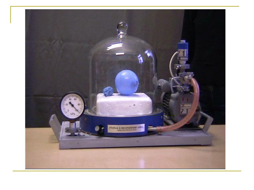 Po zapnutí vývěvy se snižuje tlak vně balónku, uvnitř balónku zůstává tlak stejný.Tudíž dojde k nerovnováze tlaků uvnitř a vně balónku a síla působící na stěnu balónku zevnitř je větší než síla působící na stěnu balónku zvnějšku (síla je přímo úměrná tlaku, F = p · S, kde S je plocha stěny balónku).