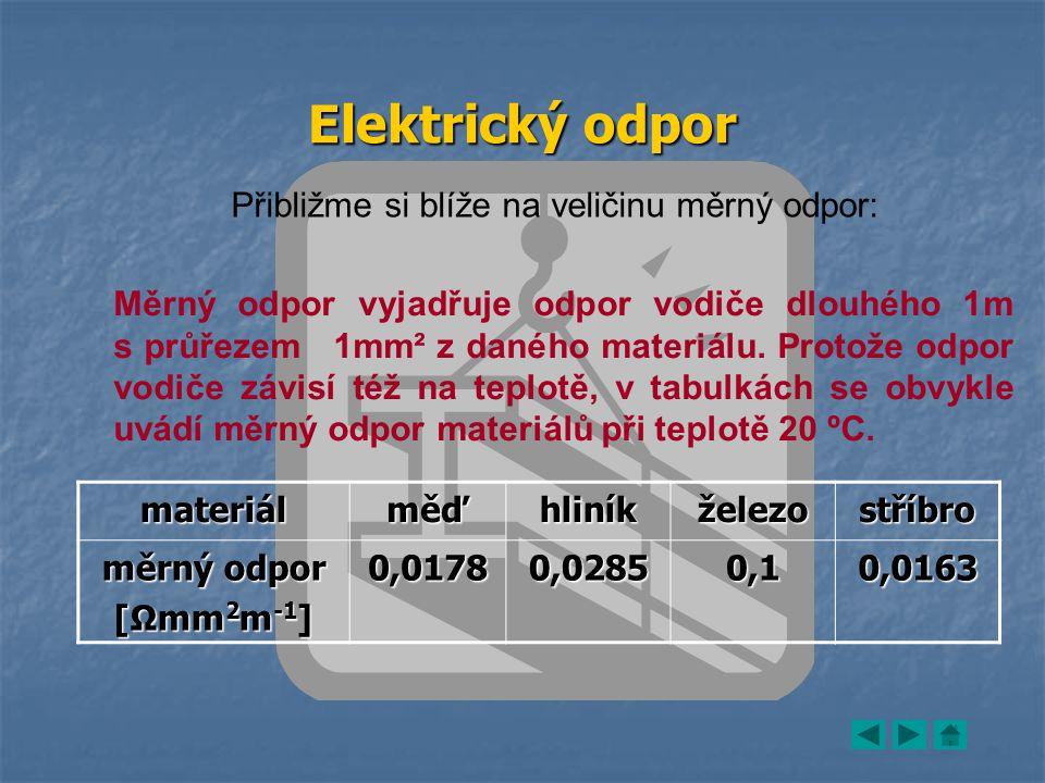 Elektrický odpor Přibližme si blíže na veličinu měrný odpor: Měrný odpor vyjadřuje odpor vodiče dlouhého 1m s průřezem 1mm² z daného materiálu.