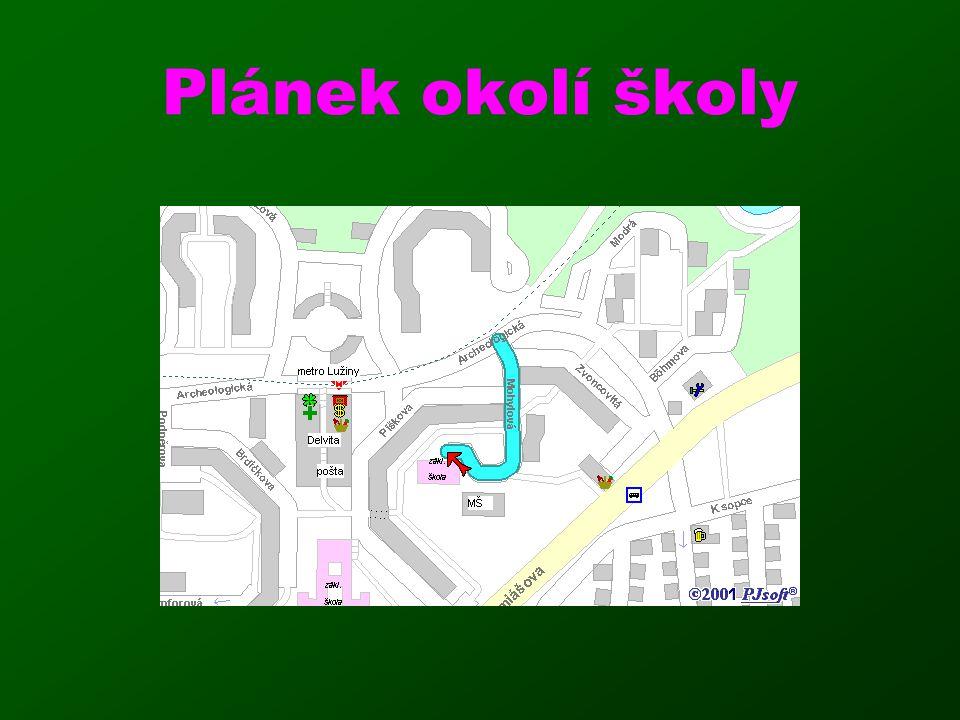 Plánek okolí školy