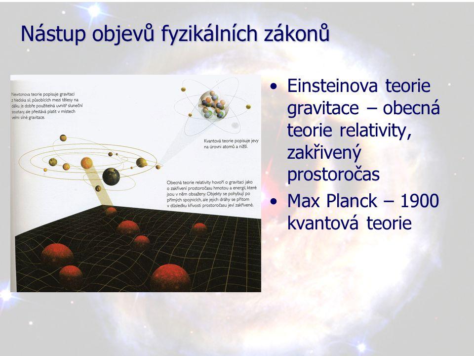 Nástup objevů fyzikálních zákonů •Důsledek OTR – gravitační ohyb světla •Hmota Slunce zakřivuje prostoročas v jeho okolí, poloha hvězdy se nám tedy jeví trochu v jiné poloze •Princip gravitačních čoček-později