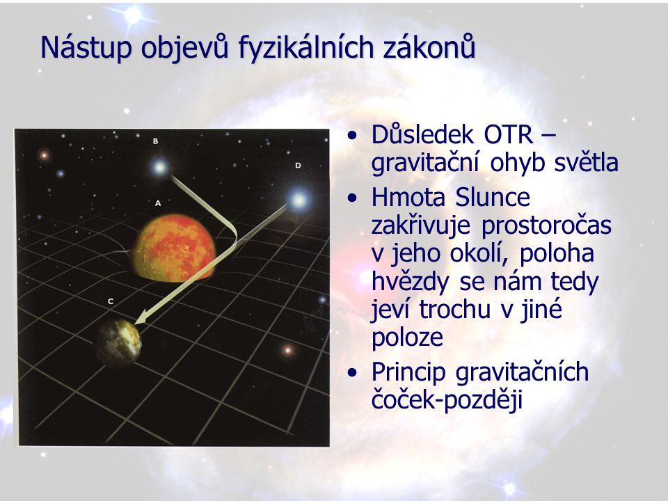 Nástup objevů fyzikálních zákonů •Z OTR vyplývá, že čas v blízkosti hmotných těles probíhá pomaleji •V teorii relativity neexistuje žádný jednoznačně daný absolutní čas, každý jednotlivec má svou vlastní míru času, závislou na tom, kde se nachází a jak se pohybuje •V OTR se prostor a čas staly dynamizujícími veličinami, pohybující se objekt či působící síla ovlivňují křivost prostoročasu