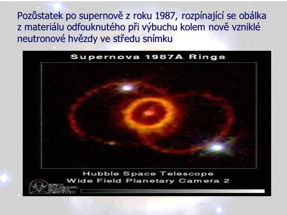 Šňůra kosmických perel obklopující explodující hvězdu