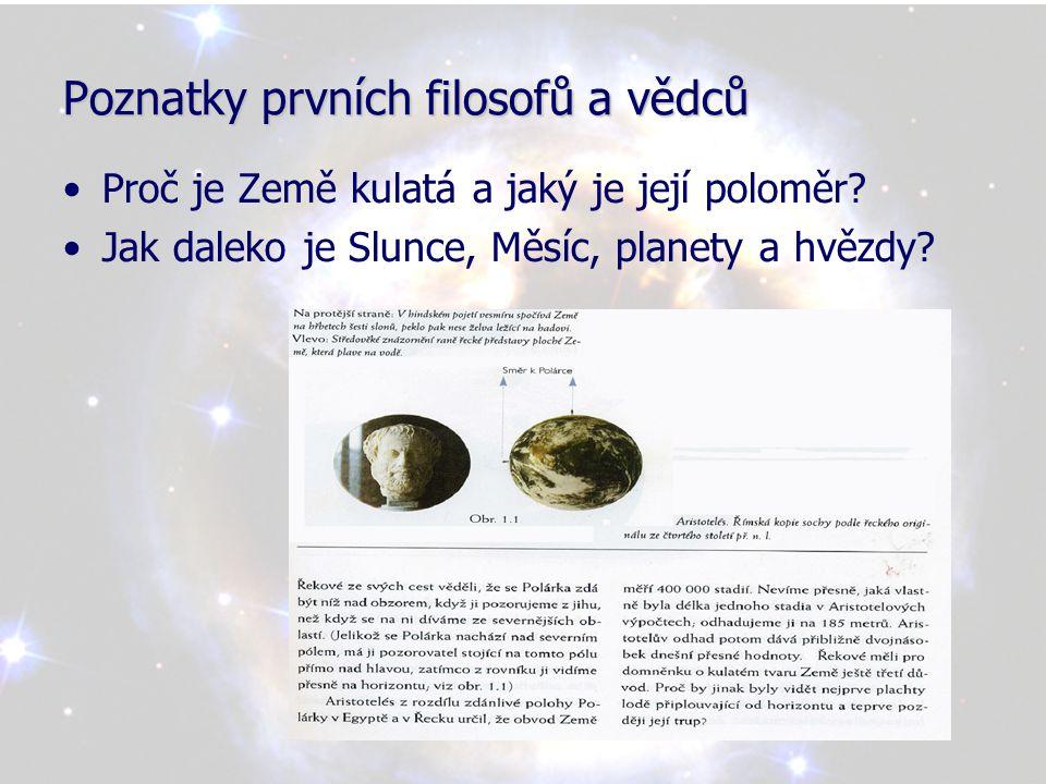 Poznatky prvních filosofů a vědců •Ptolemaios rozvinul Aristotelovy myšlenky a vytvořil úplný kosmologický model sluneční soustavy, kde Zemi umístil do středu Sluneční soustavy