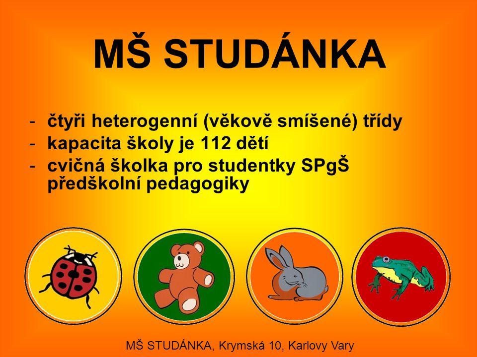 -čtyři heterogenní (věkově smíšené) třídy -kapacita školy je 112 dětí -cvičná školka pro studentky SPgŠ předškolní pedagogiky MŠ STUDÁNKA, Krymská 10,
