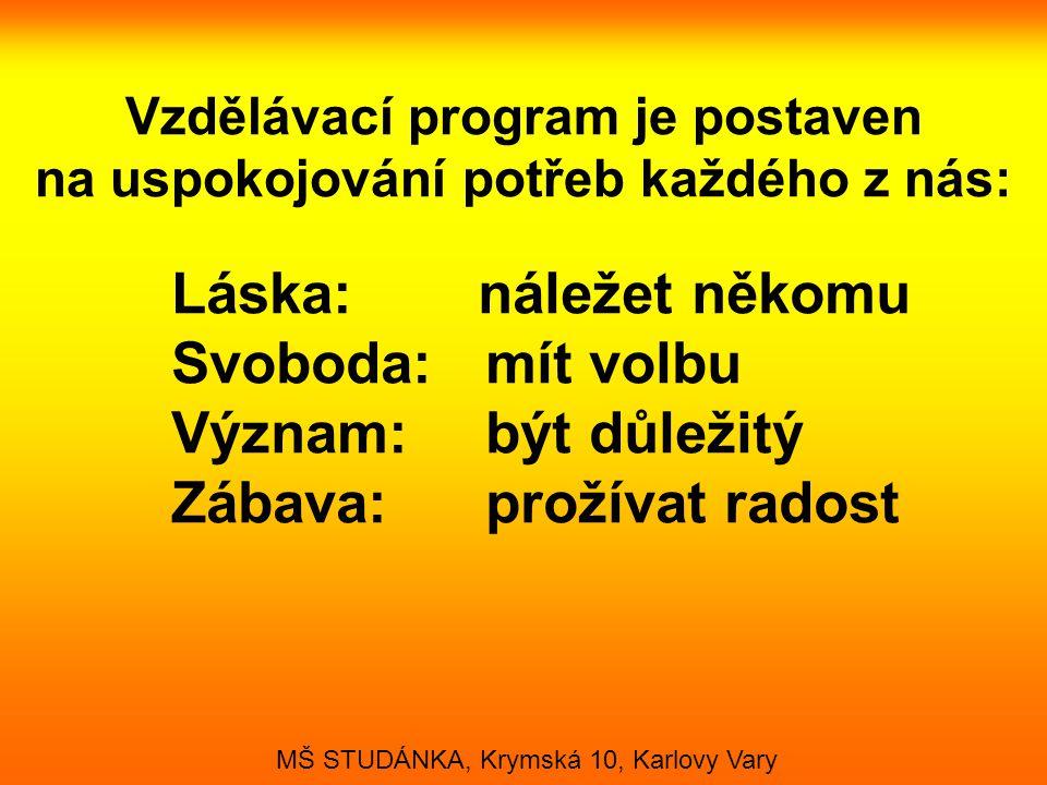 Naším cílem je naplňovat přirozené lidské potřeby: •Seberealizace - sebenaplnění •Uznání - sebeúcta •Sounáležitost - někam patřit •Bezpečí a stálost - pravidelnost, jistota, pořádek, pravidla a meze MŠ STUDÁNKA, Krymská 10, Karlovy Vary