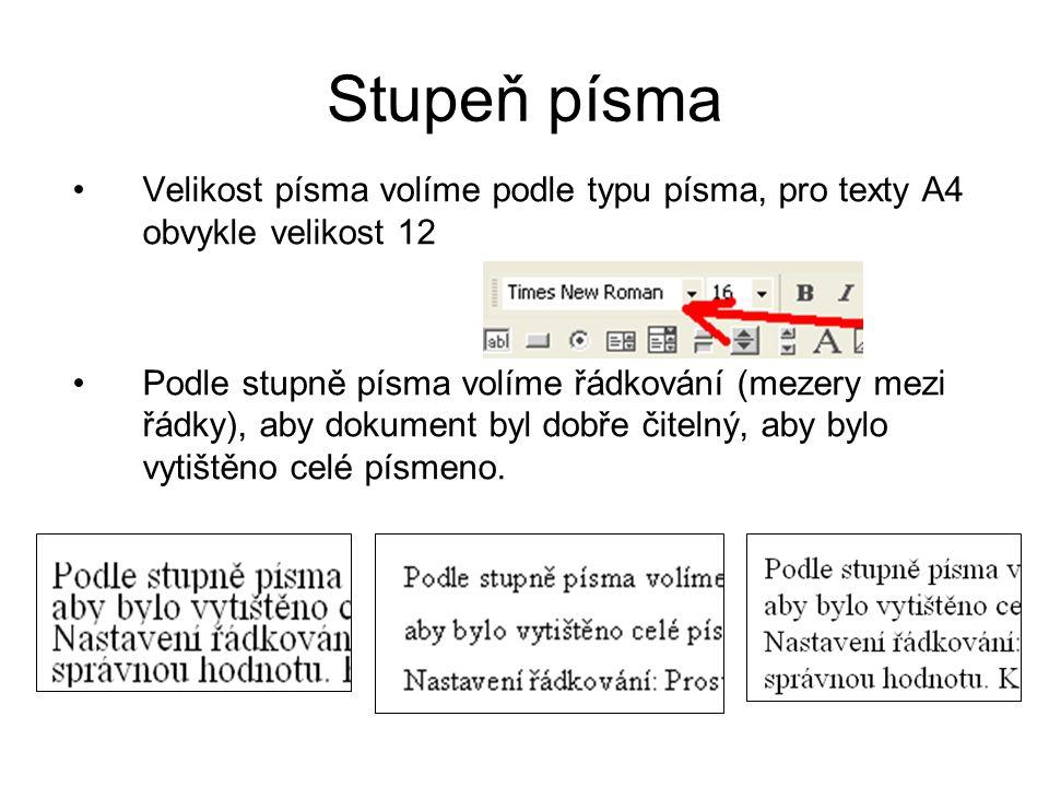 Stupeň písma •Velikost písma volíme podle typu písma, pro texty A4 obvykle velikost 12 •Podle stupně písma volíme řádkování (mezery mezi řádky), aby d
