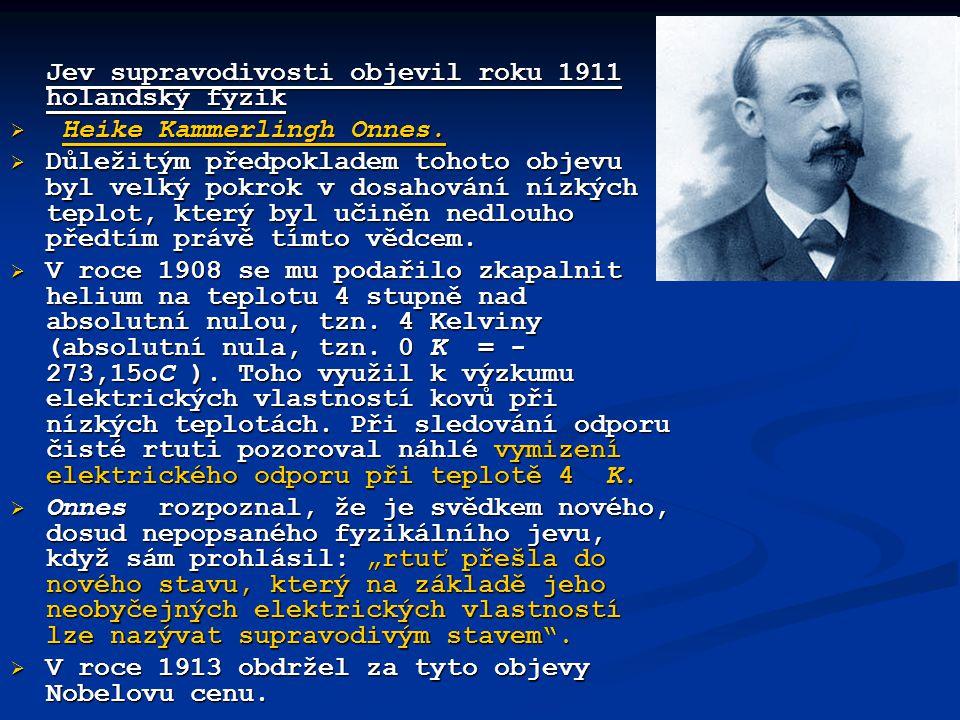 Jev supravodivosti objevil roku 1911 holandský fyzik  Heike Kammerlingh Onnes.  Důležitým předpokladem tohoto objevu byl velký pokrok v dosahování n