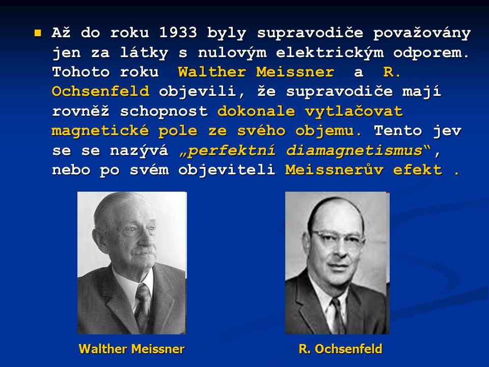  Až do roku 1933 byly supravodiče považovány jen za látky s nulovým elektrickým odporem. Tohoto roku Walther Meissner a R. Ochsenfeld objevili, že su