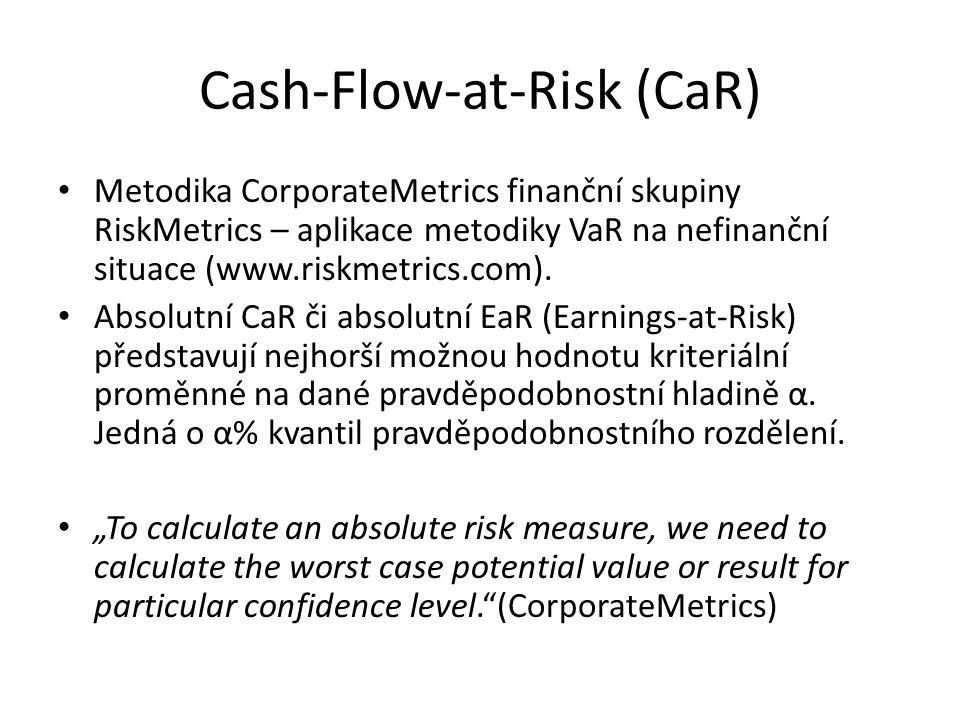 """Cash-Flow-at-Risk (CaR) • Relativní CaR či EaR je obdobou svých """"absolutních protějšků s tím, že se ale vztahují k nějaké předem dané veličině – nejčastěji střední hodnotě nebo rozpočtované hodnotě z finančního plánu firmy."""