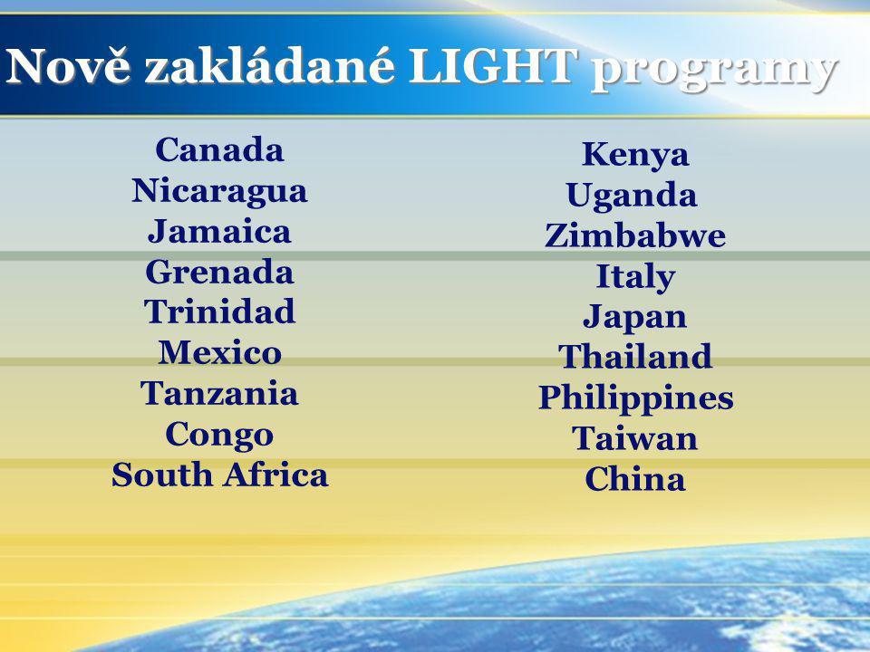 Nově zakládané LIGHT programy Canada Nicaragua Jamaica Grenada Trinidad Mexico Tanzania Congo South Africa Kenya Uganda Zimbabwe Italy Japan Thailand