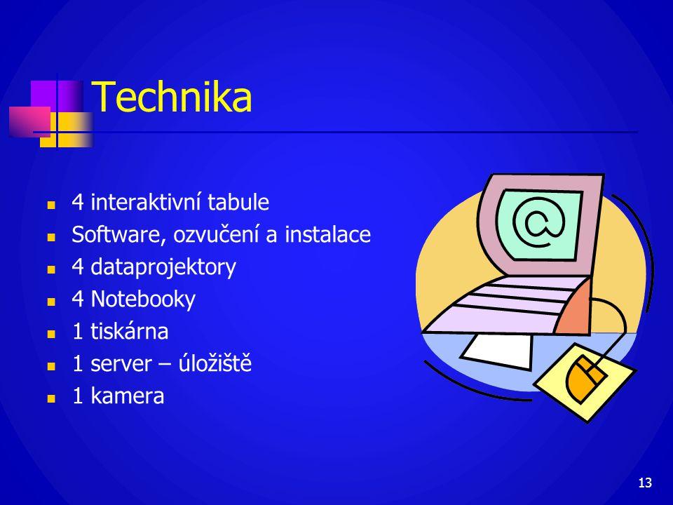 Technika  4 interaktivní tabule  Software, ozvučení a instalace  4 dataprojektory  4 Notebooky  1 tiskárna  1 server – úložiště  1 kamera 13