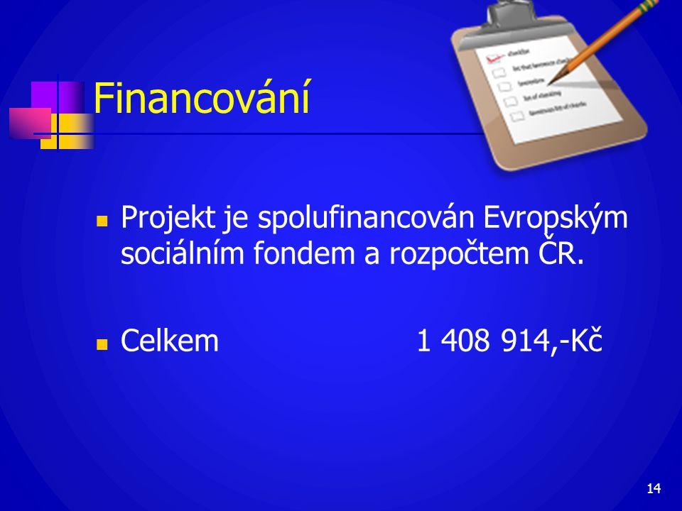 Financování  Projekt je spolufinancován Evropským sociálním fondem a rozpočtem ČR.  Celkem 1 408 914,-Kč 14