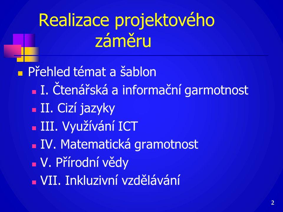 Realizace projektového záměru  Přehled témat a šablon  I. Čtenářská a informační garmotnost  II. Cizí jazyky  III. Využívání ICT  IV. Matematická