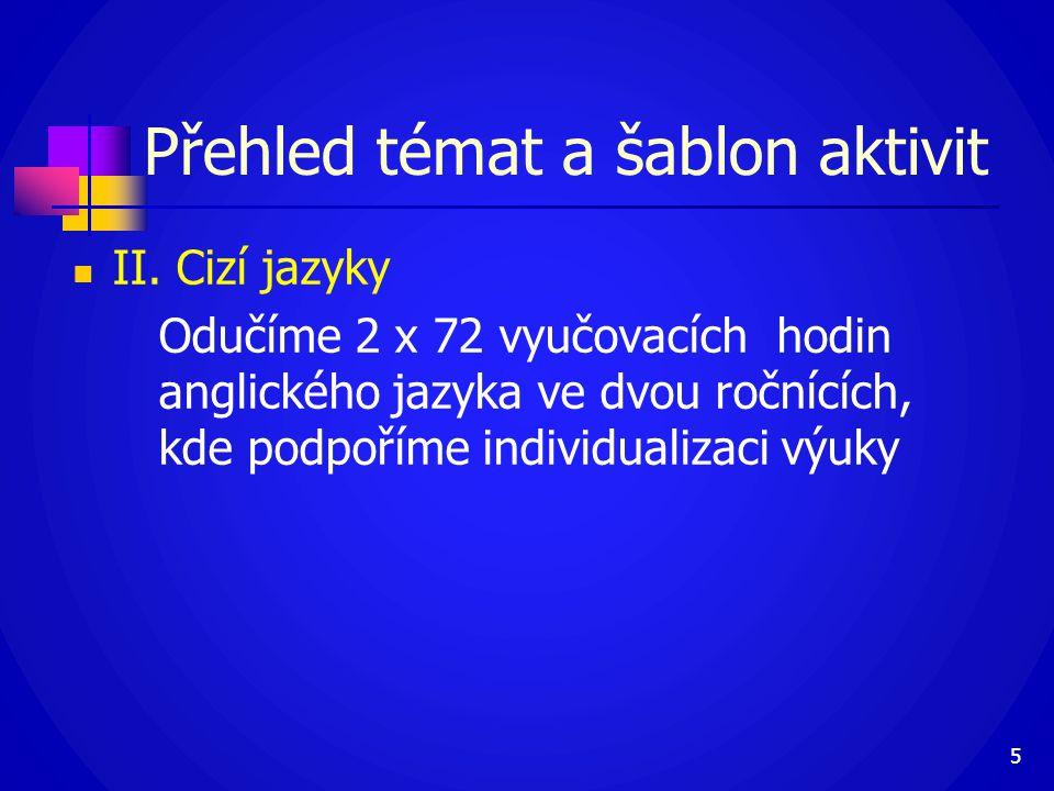 II. Cizí jazyky Odučíme 2 x 72 vyučovacích hodin anglického jazyka ve dvou ročnících, kde podpoříme individualizaci výuky 5 Přehled témat a šablon a
