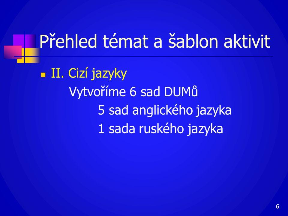  II. Cizí jazyky Vytvoříme 6 sad DUMů 5 sad anglického jazyka 1 sada ruského jazyka 6