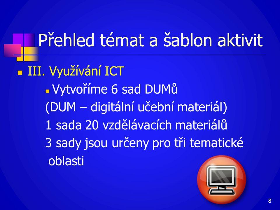 Přehled témat a šablon aktivit  III. Využívání ICT  Vytvoříme 6 sad DUMů (DUM – digitální učební materiál) 1 sada 20 vzdělávacích materiálů 3 sady j