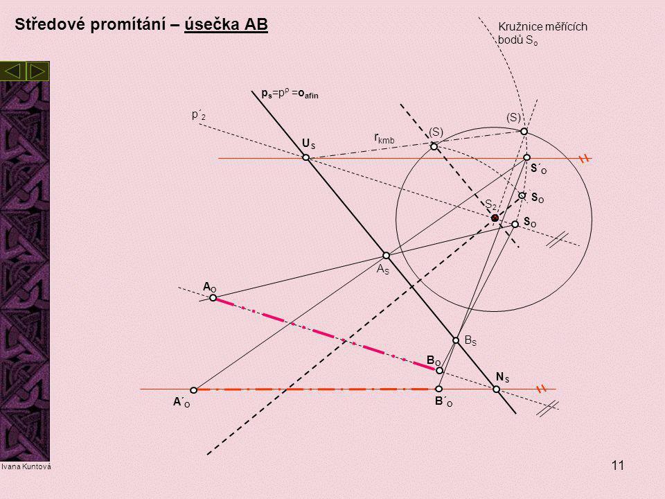 11 USUS NSNS (S) S2S2 S´ O ASAS BSBS p s =p  =o afin p´ 2 A´ O B´ O r kmb Ivana Kuntová Středové promítání – úsečka AB SOSO AOAO BOBO Kružnice měříc