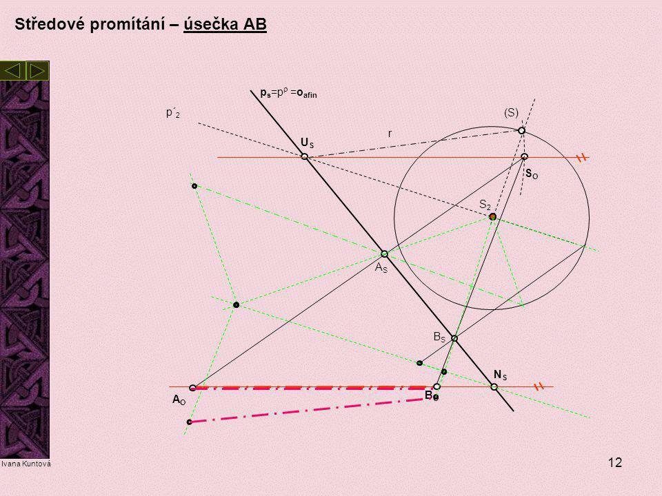 12 USUS NSNS (S) S2S2 SOSO ASAS BSBS p s =p  =o afin p´ 2 AOAO BOBO r Ivana Kuntová Středové promítání – úsečka AB