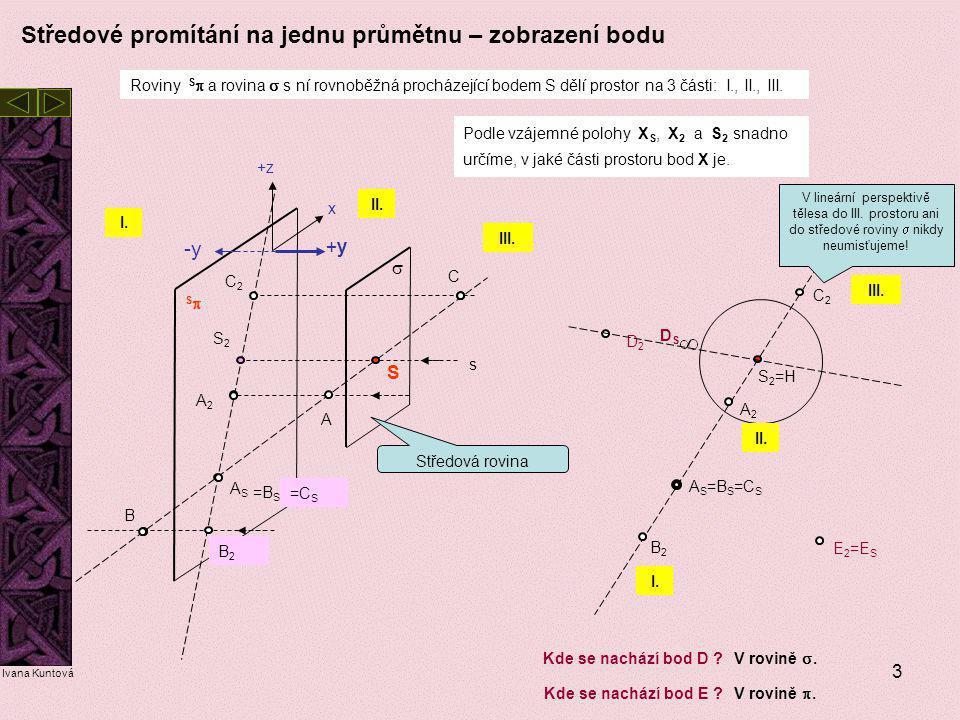 3 SS S A A2A2 ASAS S2S2 s  Roviny S  a rovina  s ní rovnoběžná procházející bodem S dělí prostor na 3 části: I., II., III. I. II. III. B C C2C2 =